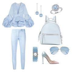 """Lightweight blue"" by mercedesztrum on Polyvore featuring Johanna Ortiz, Dondup, Prada, Fendi, Swarovski, Modern Bride and Victoria Beckham"