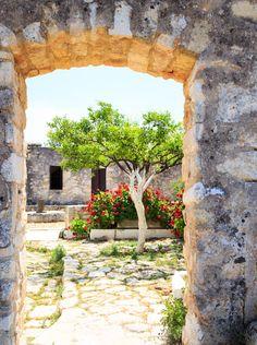 Monastery courtyard in Aptera, Crete   <3