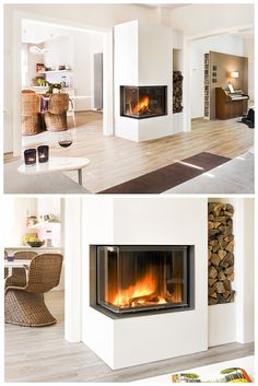 Gas Stove Fireplace, Wood Fireplace, Living Room With Fireplace, Fireplace Design, Elegant Living Room, Living Room Modern, Home Living Room, Living Room Designs, Apartment Goals