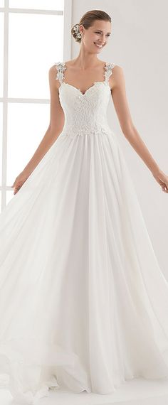 Charming Tulle & Chiffon Sweetheart Neckline Natural Waistline A-line Wedding Dress With Lace Appliques & Beadings