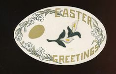 Silk Embroidered Easter Lily on Antique Postcard Shaped Like An Egg -hhh802