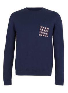 Navy Contrast Pocket Sweater Pull Bleu Marine e30a15e7c3b7
