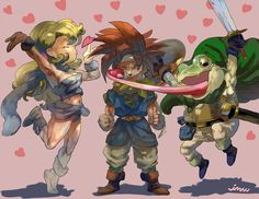 Chrono Trigger fan art with Ayla, Crono, and Frog