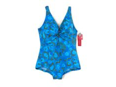 1ee460954d7 NEW Bombshell Swimsuit by Roxanne Blue Abstract Print Vintage Swimwear Old  Store Dead Stock Plus Size 44C #341