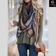 Fall blanket scarf for the ultimate style statement  #Fallfashion #Style A click away for more ideas only at ->