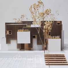 Model by check figures and vehicles . to be feature Architecture Model Making, Brick Architecture, French Architecture, Architecture Student, Concept Architecture, Residential Architecture, Landscape And Urbanism, Arch Model, Building Design