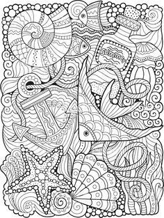 Coloring For Adults Undersea World Lizenzfreies Stock Vektor Art Und