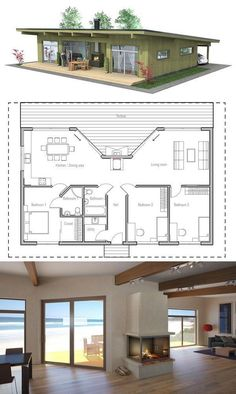 Small House Plan with three bedrooms.  Love the porch fireplace concept. I really like this floor plan.: