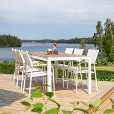 Spisebord i akacietræ og hvid alu Outdoor Furniture Sets, Outdoor Decor, Home Decor, Interior Design, Home Interior Design, Home Decoration, Decoration Home, Interior Decorating