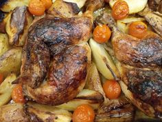 Roasted Hen with Potatoes and Apples - World Food Tour Roasting Pan, The Dish, Tray Bakes, Grand Prix, Apples, Main Dishes, Potatoes, Chicken, Cooking