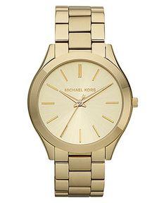 Michael Kors Watch, Women's Slim Runway Gold-Tone Stainless Steel Bracelet 42mm MK3179 - All Watches - Jewelry & Watches - Macy's