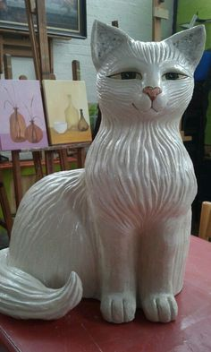 Cat in clay. 70 cm h. Stoneware. november 2013. (sold) by Rooie Heidi.