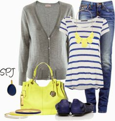 Get Inspired by Fashion: Weekend Outfits | Blue & Yellow