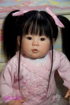 Custom Order Reborn Kana Toddler Doll Asian Baby Girl By Ping Lau Human Hair