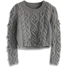 Chicwish Retro Cozy Up Woolen Sweater in Grey