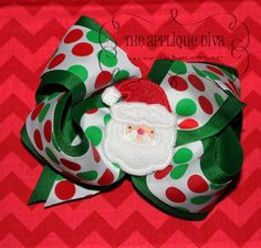 Christmas Santa Hair Bow Center Digital by theappliquediva on Etsy, $2.99