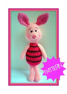 Pattern, Crochet Pattern, Amigurumi Pattern, PDF Amigurumi Piglet Crochet Pattern, Winnie the Pooh, tutorial. $5.00, via Etsy.