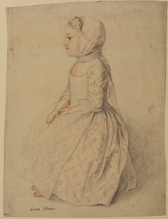 """""""Full Length Seated Left Profile View of Young Girl - Anne Hoare"""" by William Hoare (18th century) at the Courtauld Gallery, London"""