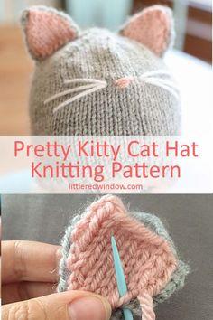 7d36b6b1bbf Pretty Kitty Cat Hat Knitting Pattern -  Cat  Hat  Kitty  Knitting