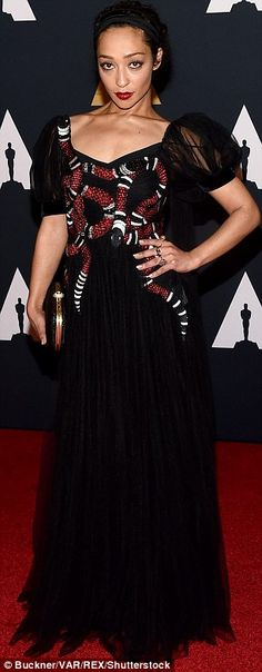 Bright:Actress Ruth Negga sported a dress featuring a snake design while the CEO of the A...