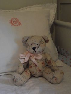 need to make a teddy with my new curtain fabric or an old sweater (Dad's) ...csb