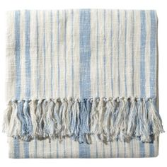 Glacier Striped Cotton Throw by John Robshaw  #figlinensrye #freeshipping #figlinensandhomewestport #lifestyle #figlinensandhomerye #cozy #figlinenswestport #figlinens #homedecor #chic