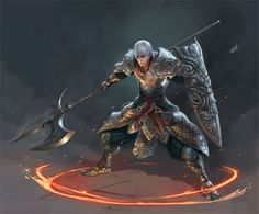 Armoured Warrior with Halberd and Shield - This is Jeanne's weapon selection
