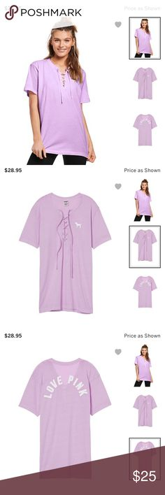 Victoria's Secret PINK Campus Lace Up Tee Brand new in online packaging. Size Extra Small but these do run a little oversized so it should fit extra small - small. PINK Victoria's Secret Tops Tees - Short Sleeve