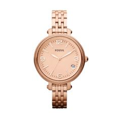 FOSSIL® : Heather Mid-Size Stainless Steel Watch – Rose ES3182