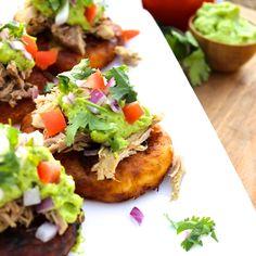 Paleo Carnitas on Yuca Cakes with Avocado Cream - AIP Friendly and full of flavor Yuca Recipes, Mango Recipes, Primal Recipes, Real Food Recipes, Diet Recipes, Healthy Recipes, Clean Eating, Healthy Eating, Carnitas