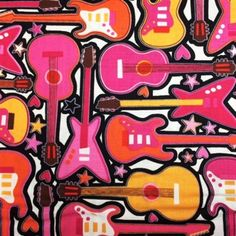 Girls Rock Pink Guitars Stars and Hearts Cotton Fabric