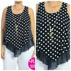 """**Host Pick** Polka Dot Top True to size!  Plus Size Polka Dot Sleeveless Top With Mesh and Necklace Detail   Fabric: 100% Polyester   Made in USA   1XL   Bust: 42.5""""  Length: 29""""   2XL   Bust: 44""""  Length: 29""""   3XL  Bust:  48""""  Length: 29"""" Tops Blouses"""