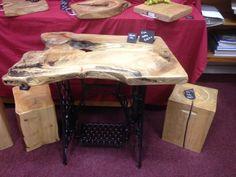 Rustic Elm table on Singer base enquiries www.planks2tops.vpweb.co.uk