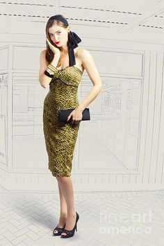 Editorial fashion photo illustration of a vintage beautiful young pin up girl in leopard print dress holding black purse on hand drawn shop corner. Pinup wear by Ryan Jorgensen