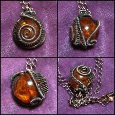 A little something I whipped up tonight. Copper wire wrapped around an amber bead.