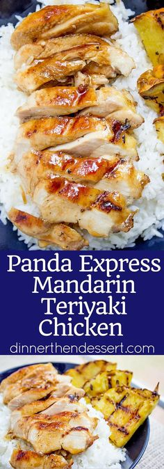 Panda Express Mandarin Teriyaki Chicken made with just a few ingredients and cooked on a super hot grill pan, you'll be saving yourself a ton of time and money by making it at home!(Few Ingredients Dinner) Panda Express Teriyaki Chicken, Chicken Teriyaki Rezept, Restaurant Recipes, Dinner Recipes, Fancy Recipes, Restaurant Bar, Panda Express Recipes, Copycat Recipes, Asian Recipes
