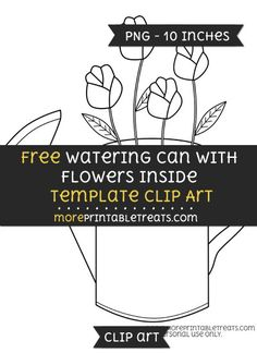 Free Watering Can With Flowers Inside Template - Clipart