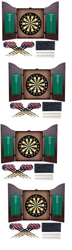 Dart Boards 72576: Gameroom Dartboard Cabinet Set Dart Board Walnut Finish  Wooden Selfhealing Fiber BUY