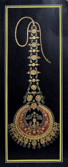 """Embossed Jewelry"" by Kailash Raj. Mughal Miniature Paintings, Mughal Paintings, Tanjore Painting, Marble Jewelry, Jewelry Art, Jewellery, Jewelry Design, Marble Painting, Marble Art"