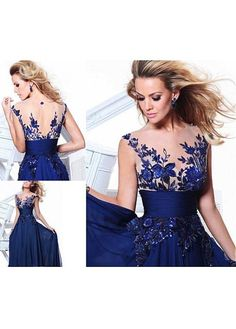Tidetell.com A-line Scoop Neck Chiffon Long Prom Dress With Embroidery; long prom dresses; embroidery prom dresses; royal blue prom dresses