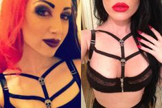 Ash Costello's love for black lace and skull permeates even her lingerie. She wore a Velvet Muse Lingerie Beautiful Carnage Cage Bra ($68.00) with dark makeup for a sexy goth look.