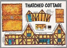THATCHED COTTAGE PAPER CONSTRUCTION DIAGRAM, TOY MODEL KID CHILD UNUSED