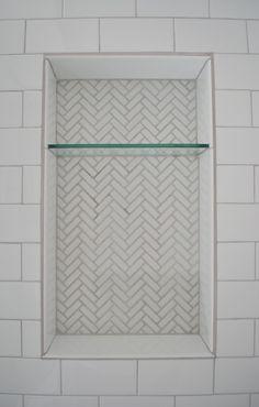 Herringbone Tile Shower Shelves | Life Is Sweet As A Peach