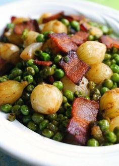 Pearl Onions, Peas and Bacon Recipe - RecipeChart.com