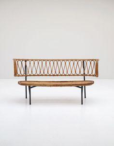 Rattan settee from Dirk van Sliedregt 1956 - City-furniture.be Design City Furniture, Rattan Furniture, Cheap Furniture, Painted Furniture, Living Room Furniture, Furniture Design, Outdoor Furniture, Banquette Seating, Lounge Seating