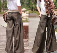 Four Seasons can wear Brown linen Wide leg pants Culottes. $79.00, via Etsy.