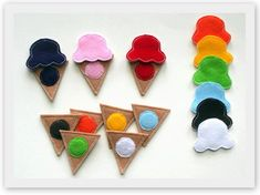Ice Cream ITH Color Matching Game Embroidery Design In the Hoop Files via Etsy.....design for quiet book