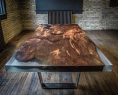 #slab / 4000 year old Red Wood Burl with cast resin in the natural voids