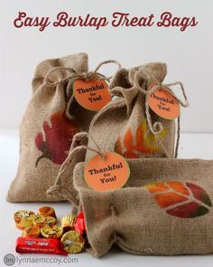 These easy burlap treat bags take just five minutes and a few inexpensive supplies from Walmart. They're a great way to say thank you for friends, family, or anyone, really. {Free Printable Tags}