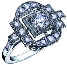 Bague Art Deco SALOME Or Blanc et Diamants. Bague ancienne. #bague #artdeco #orblanc #diamants #ancienne #bijoux #luxe #valeriedanenberg
